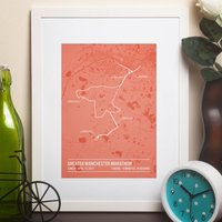 Personalised Manchester Marathon Poster, Mint/Bittersweet/Pink