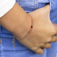 Rose Gold Birthstone Bar Slider Bracelet, Gold