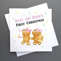 Personalised Twins Baby's First Christmas Card