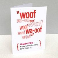 Personalised Pet Translation Valentine's Day Card, Red/Blue/Charcoal