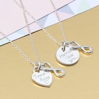 Personalised Silver Heart And Infinity Necklace, Silver