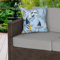 Blue Nautical Boats Water Resistant Outdoor Cushion