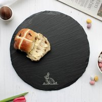 Spring Rabbit Round Slate Serving Board