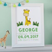 Personalised Giraffe Nursery Wall Print