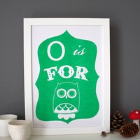O Is For Owl Alphabet Print