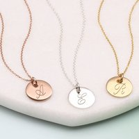 Personalised 18ct Gold Or Silver Initial Disc Necklaces, Silver