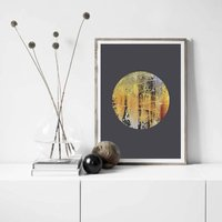 Charcoal Grey Abstract Wall Art Print, Nomad Eclipse
