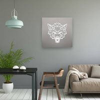Geometric Wolf Head Illuminated Mirror
