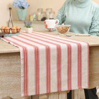 Farmhouse Red Stripe Cotton Table Runner
