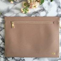 Personalised Saffiano Leather Three Zipper Clutch Bag, Black