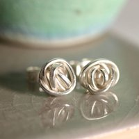 Handmade Silver Lovers Knot Stud Earrings, Silver