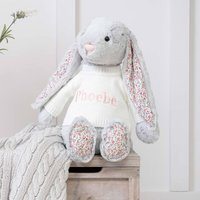 Personalised Blossom Grey Bunny Large Soft Toy