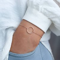 Personalised Diamond Cut Circle Bracelet