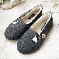 Women's Dark Grey Felt Wool Slippers