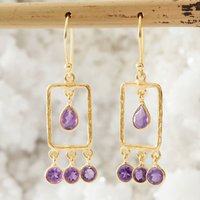 Amethyst And Hammered Gold Rectangle Earrings, Gold