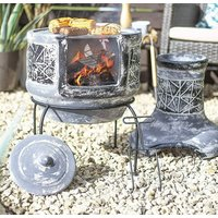 Two Piece Clay Chiminea With Cooking Grill Grey Finish