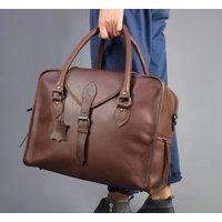 Overnight Personalised Leather Overnight Bag Pecan