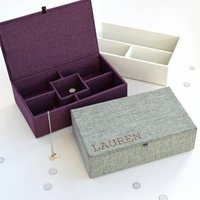 Personalised Fabric Jewellery Box, Grey/Purple/Cream