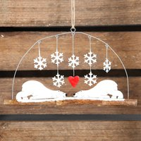 Christmas Polar Bears In Love Hanging Decoration