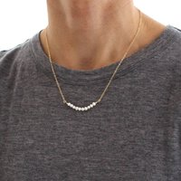 White Pearl Skinny Beaded Bar Necklace