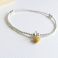 Sterling Silver Tiny Gold Frosted Heart Beaded Bracelet, Silver