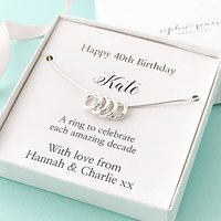 40th Birthday Four Silver Rings Necklace, Silver