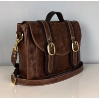 Two Tone Brown Leather Cleo Handbag