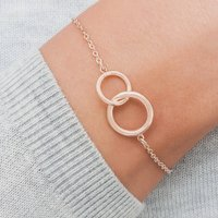 Lia Personalised Eternity Circle Of Life Bracelet, Silver/Rose Gold/Rose