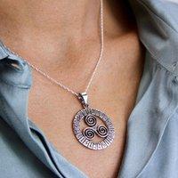 Sterling Silver Celtic Triple Spiral Necklace, Silver