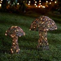 Pair Of Illuminated Rattan Mushrooms