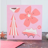 Pink And Red Christmas Collage Card Pack