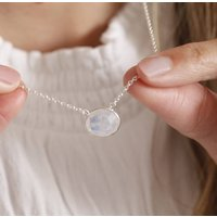 Sterling Silver Oval Gemstone Necklace, Silver