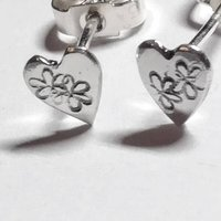 Tiny Recycled Silver Heart Shaped Studs, Silver