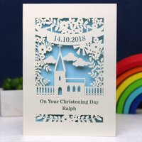 Personalised Papercut Floral Christening Card, Cream/Gold/Silver