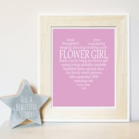 Personalised Flower Girl Print, Light Pink/Pink/Grey