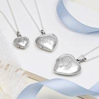 Sterling Silver Tree Heart Locket Necklace, Silver
