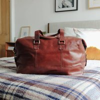 Leather Travel Holdall Bag, Tan