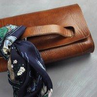 Natasha Clutch Bag, Tan/Chocolate/Black