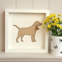Framed Personalised Jack Russell Dog With Nametag, Olive/Green/Beige
