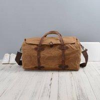 Handmade Vintage Look Waxed Canvas Travel Bag