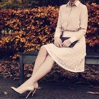 Pure Silk Lace Skirt, White/Black