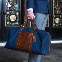Personalised Canvas/Leather Large Holdall.Giovane L, Tan/Navy/Black