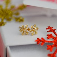 9ct Gold Snowflake Earrings, Gold