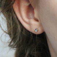Aquamarine Stud Earrings In 9ct Gold, Gold