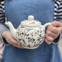 Personalised Hand Painted Seagull And Hearts Teapot