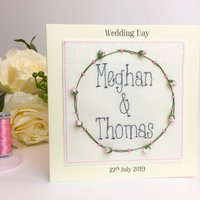 Personalised Embroidered Wedding Rose Card