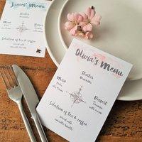 Watercolour Travel Individual Wedding Menu Card
