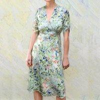 New Season Print Silk Crepe Tea Dress