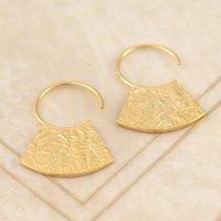 Gold Vintage Circular Textured Hoop Earrings, Gold