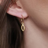 18ct Gold Vermeil Hoop Earrings With Leaf Charms, Gold